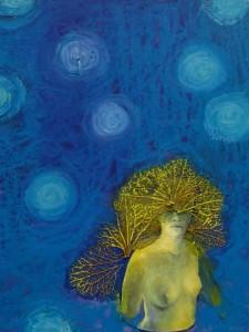 Waden met lichtbollen, 2015 collage eigen werk/oliepastel/hortensia, 15x15 (part.collectie)