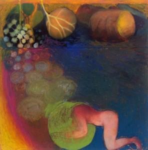 Vrouw die in slaap valt, 2016, 15x15, collage/gem.techniek