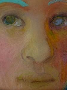 De blik, 2014 soft en oliepastel, 10x10