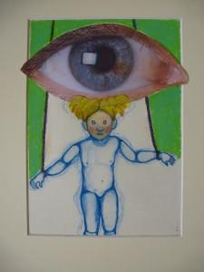 Het blote oog, 2014, 28x20, tekening/collage - voor scholieren schrijfwedstrijd Story Awards