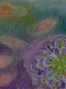 Lila bloem, 2015, soft en oliepastel, 10.5x12.5
