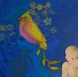 Zwijgen bij schoonheid, 2015, 15x15 collage/gem.techniek