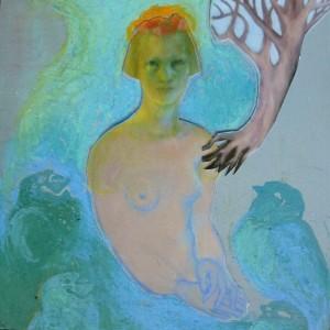 Vrouw met vogels, 2015 collage/gem.techniek op mdf 15x15