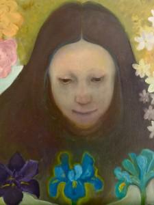 Meisje met bloemen, 2016, olie/linnen, 60x60