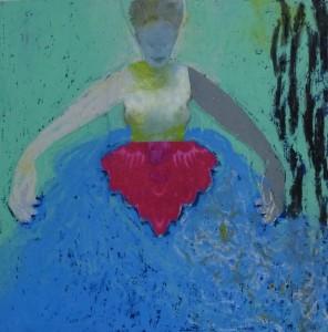 Vrouw met grote handen, 2016, 15x15 collage/gem.techniek