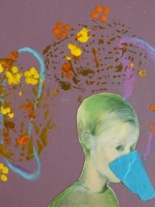 Kind met toeter, 2016 collage eigen werk/gem.techniek 15x15