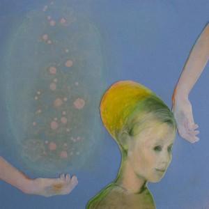 Kind met gele muts, 2016, 15x15, collage/gem.techniek